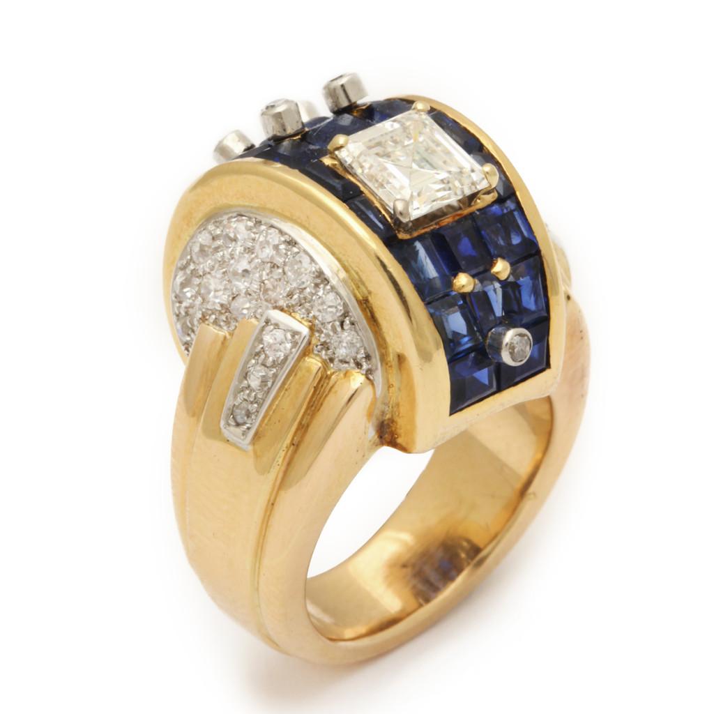 Machine Aesthetic Sapphire and Diamond Ring