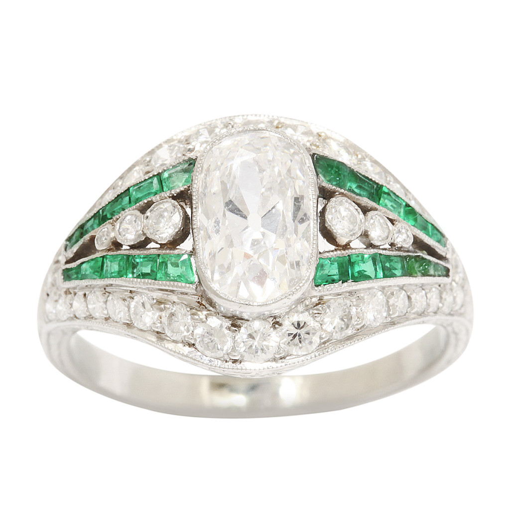 Edwardian Diamond and Emerald Ring