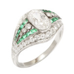 Edwardian Diamond and Emerald Ring, top