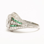 Edwardian Diamond and Emerald Ring, side 1