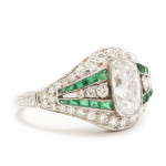 Edwardian Diamond and Emerald Ring, side 2