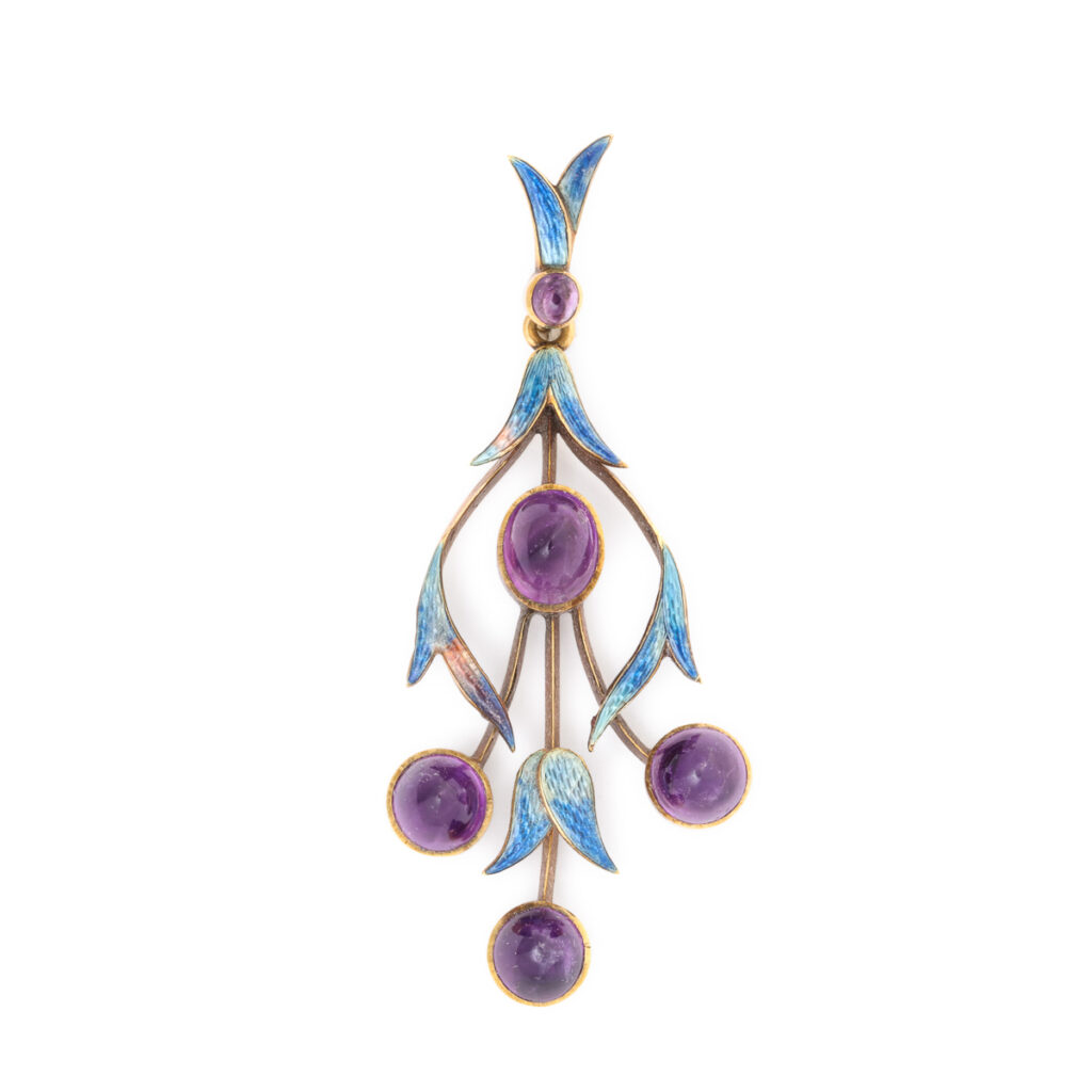 main view, Mrs. Newman Enamel and Amethyst Floral Pendant