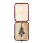 original box view, Mrs. Newman Enamel and Amethyst Floral Pendant