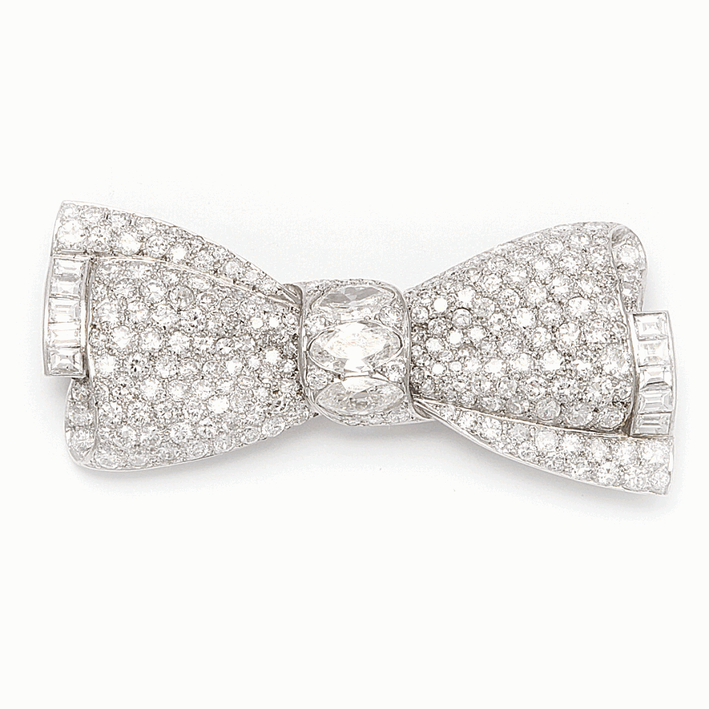 Pavé Diamond Bow Brooch