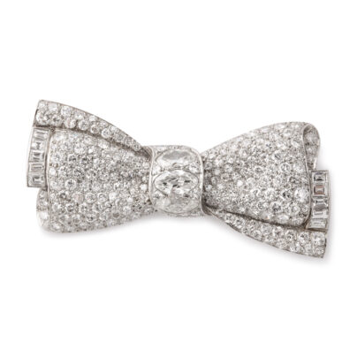main view, Pavé Diamond Bow Brooch