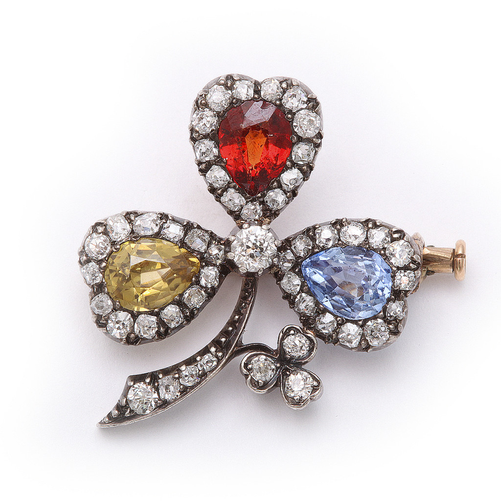 Antique Multi Gem Clover Brooch