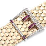 detail view, 1940s Gold and Jeweled Buckle Bracelet