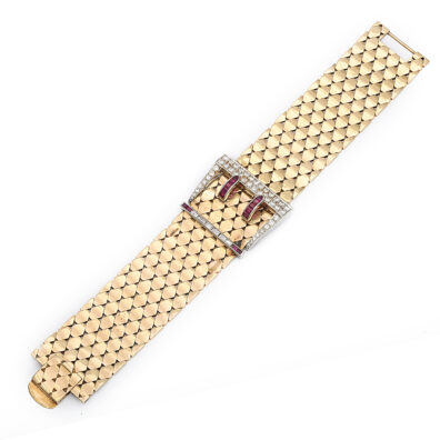 main view, 1940s Gold and Jeweled Buckle Bracelet