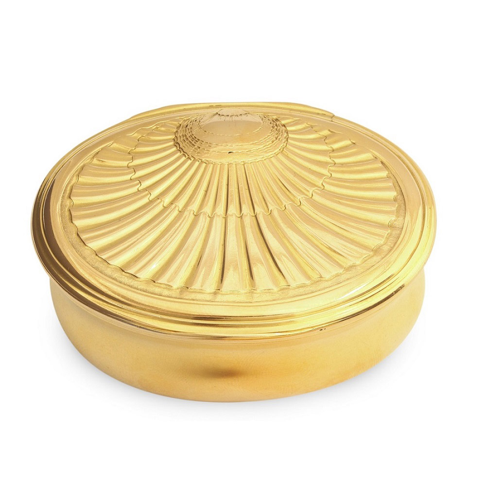 main view, Oval Gold Box with Shell Design