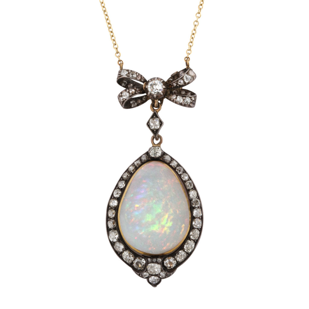 Main view, Antique White Opal and Diamond Pendant