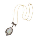 full view, Antique White Opal and Diamond Pendant