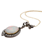 additional view, Antique White Opal and Diamond Pendant