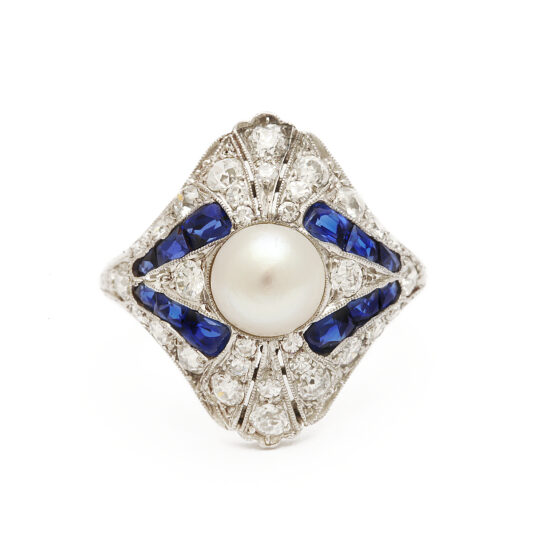 main view, Art Deco Natural Pearl, Diamond, and Sapphire Ring