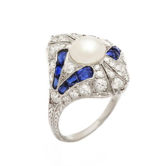 other view, Art Deco Natural Pearl, Diamond, and Sapphire Ring