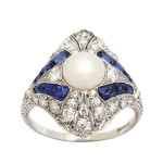 Art Deco Natural Pearl, Diamond, and Sapphire Ring