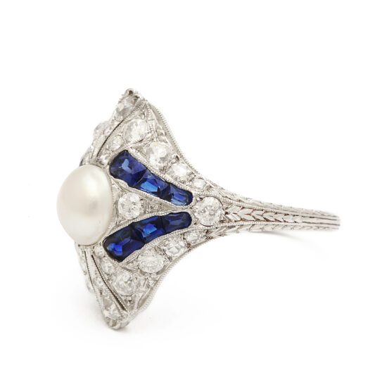 side view, Art Deco Natural Pearl, Diamond, and Sapphire Ring