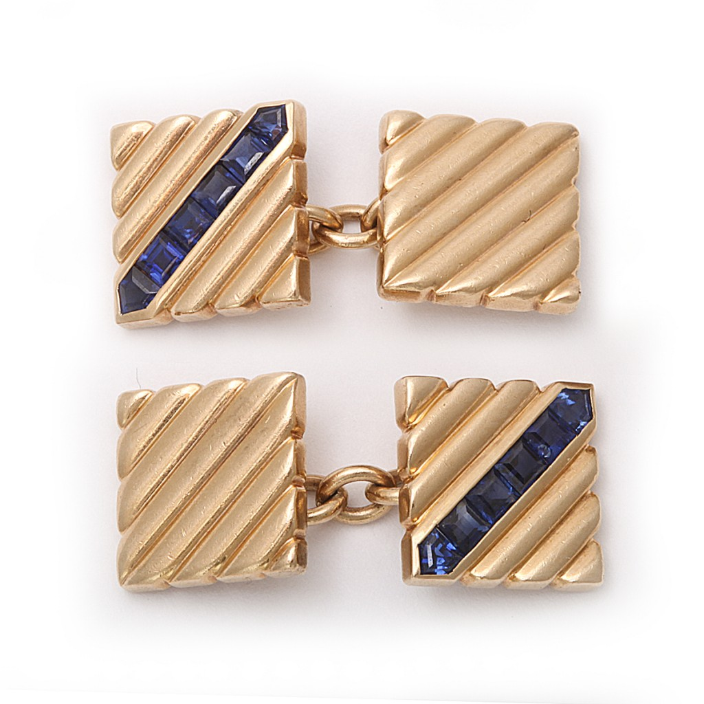 Cartier, New York, Gold-Ribbed Cufflinks set with Calibre Sapphires