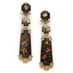 main view, Antique Swiss Enamel Earrings