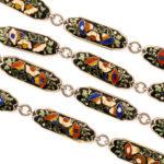 detail view, Antique Swiss Enamel Chain Necklace