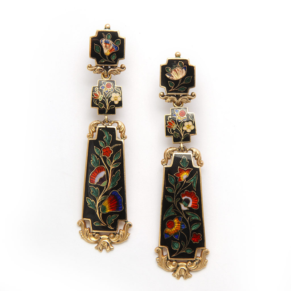 main view, Antique Swiss Enamel Earrings