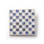 Diamond and Sapphire Checkerboard Brooch