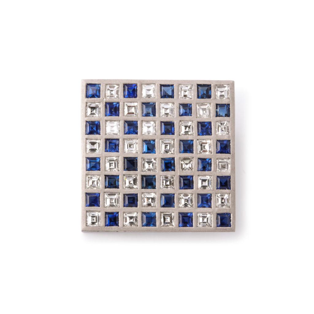 main view, Diamond and Sapphire Checkerboard Brooch