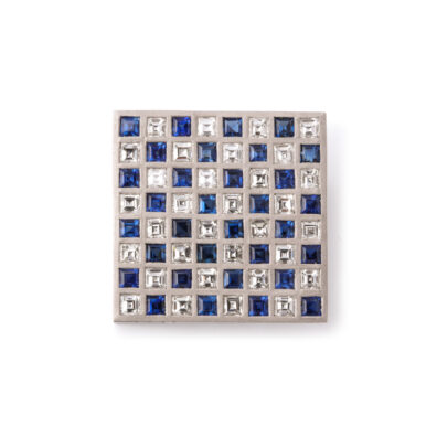 main view, Diamond and Sapphire Checkerboard Brooch