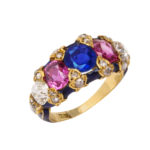 other view, Victorian Jeweled and Enamel Ring