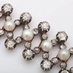 Natural Pearl and Diamond Flexible Antique Bracelet