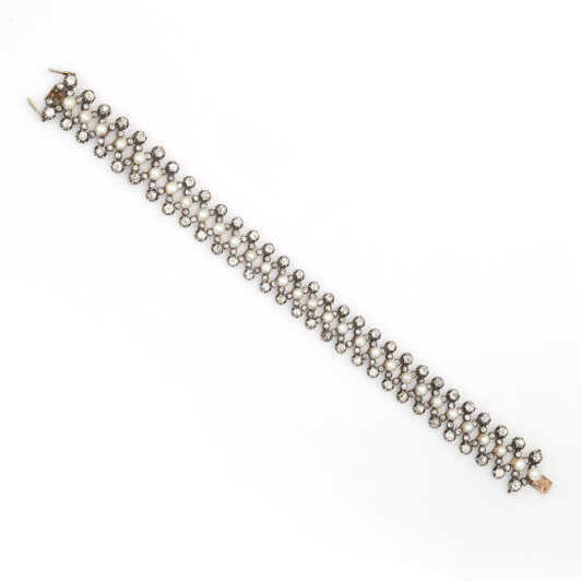 long view, Natural Pearl and Diamond Flexible Antique Bracelet