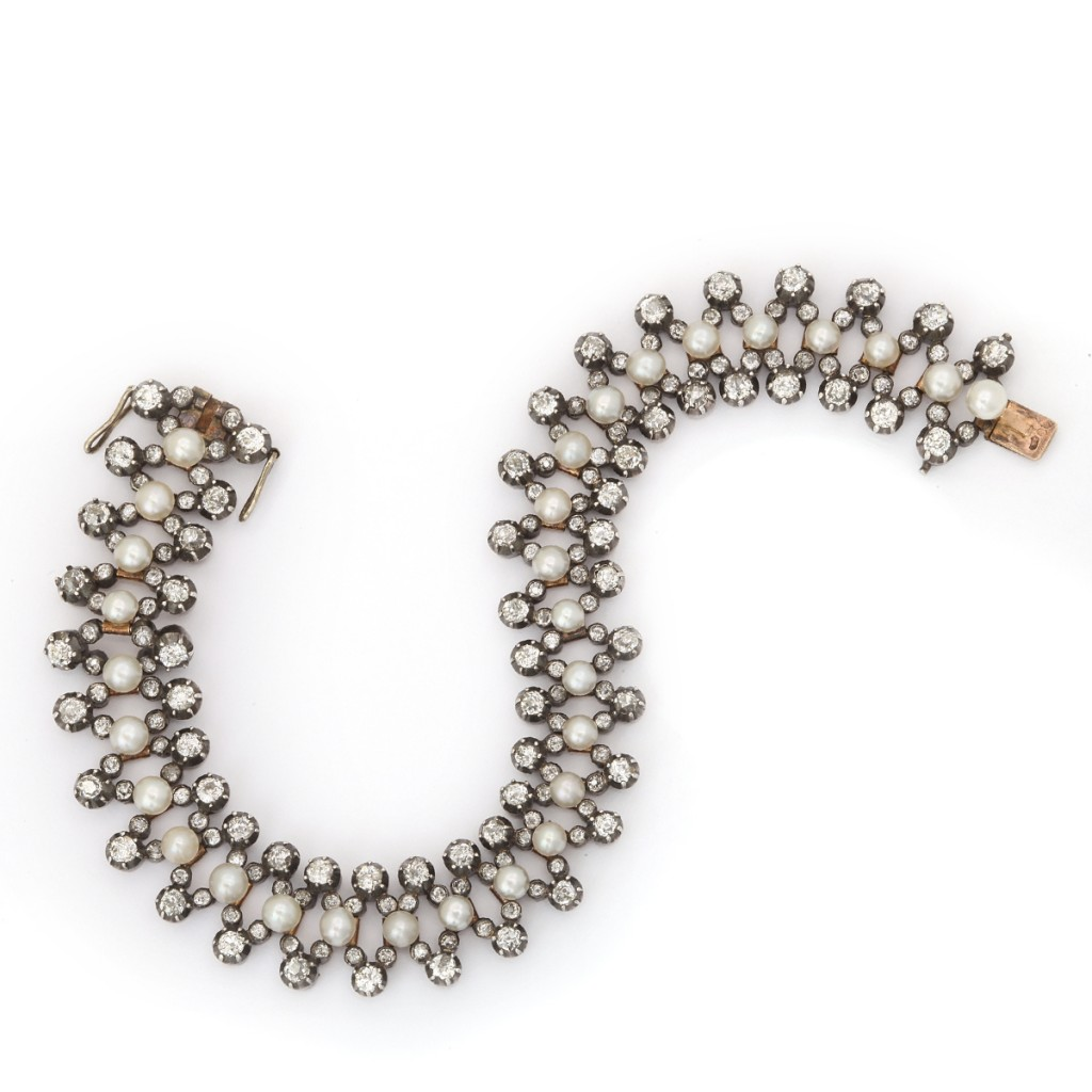 Natural Pearl and Diamond Flexible Antique Bracelet