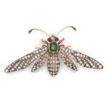 main view, Diamond and Emerald Antique French Wasp Brooch by Fontana
