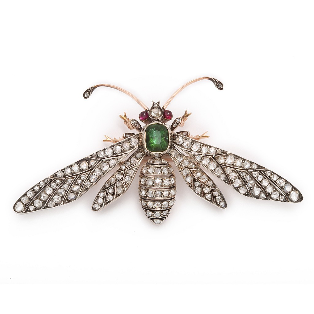 Diamond and Emerald Wasp Brooch by Fontanna