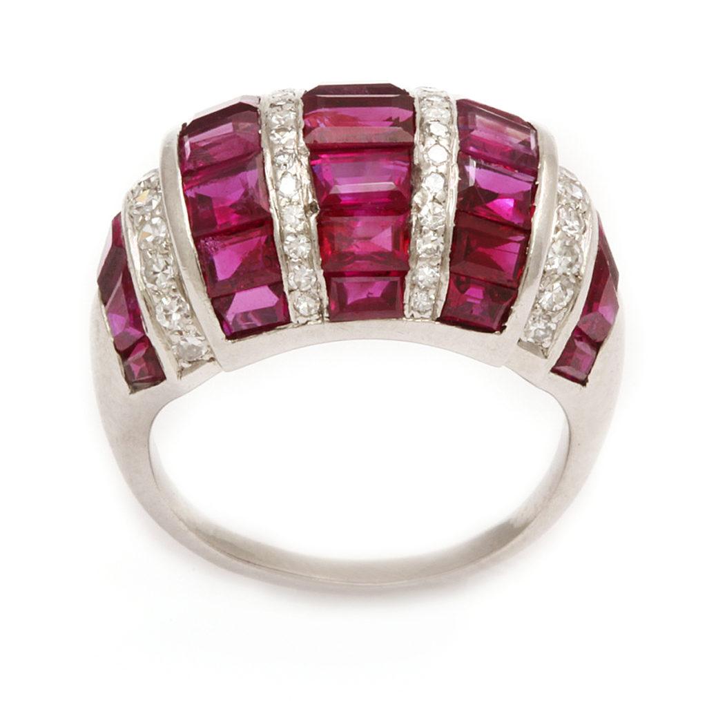 main view, Bombé Ruby and Diamond Ring