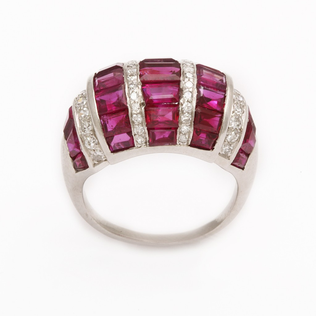 Bombe Ruby and Diamond Ring