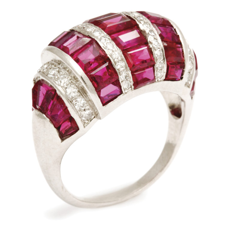 other view, Bombé Ruby and Diamond Ring