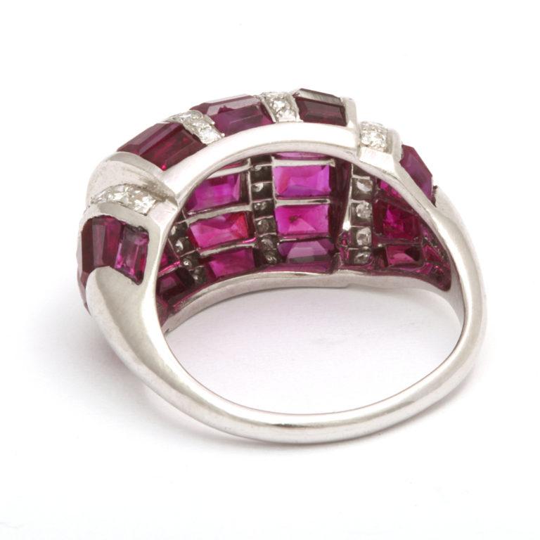 back view, Bombé Ruby and Diamond Ring