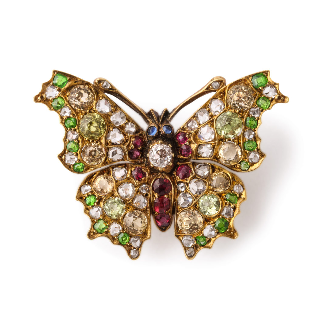 main view, Fancy-colored Diamond and Ruby Butterfly Brooch