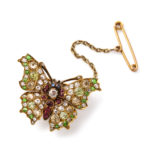 with safety attachment, Fancy-colored Diamond and Ruby Butterfly Brooch