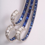 Sapphire and Diamond Waterfall Brooch by Flato Detail 1