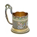 Antique Russian Enamel Tea Glass Holder