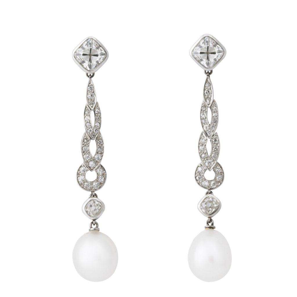 main view, Natural Pearl and Diamond Drop Earrings