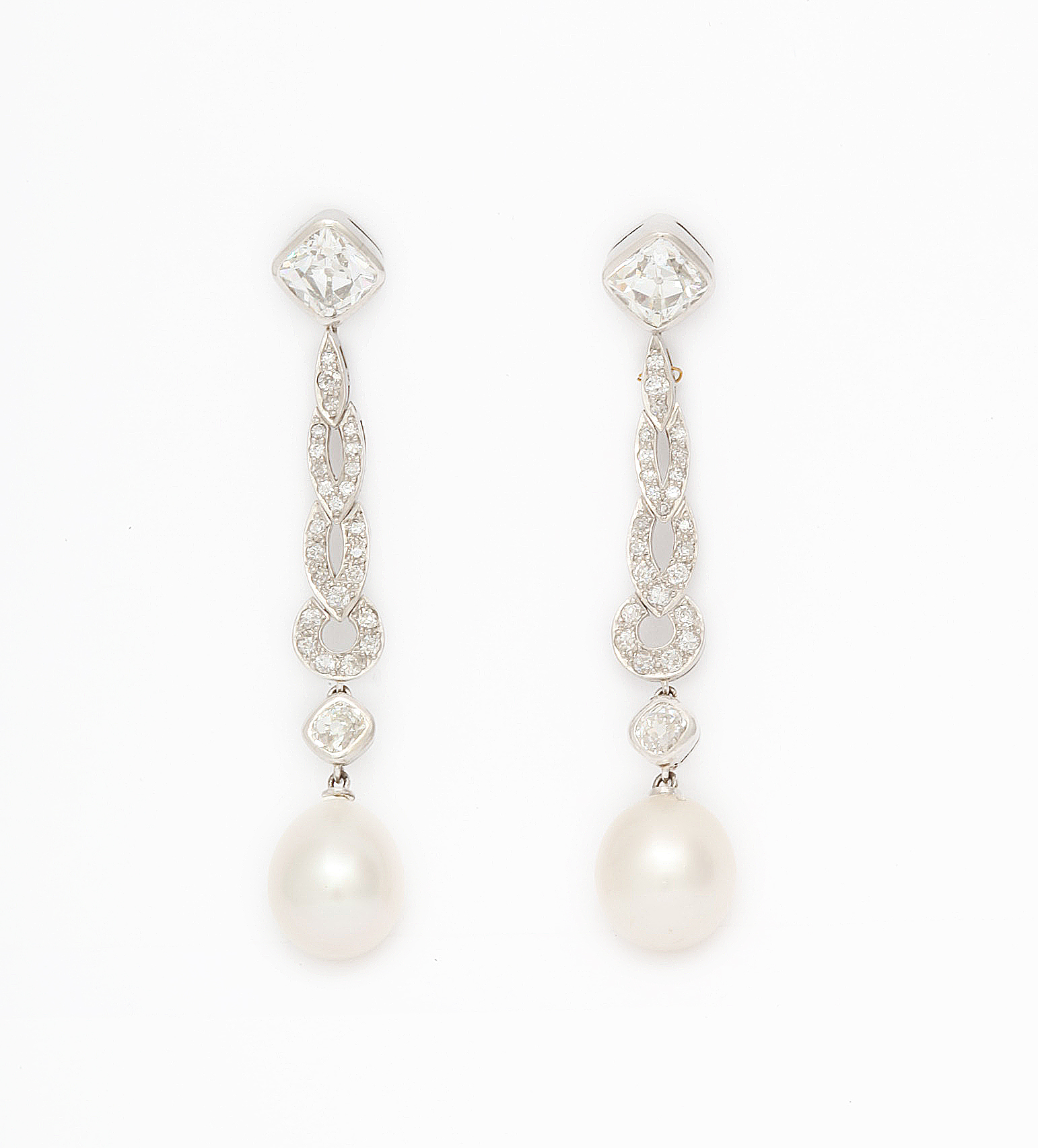 A La Vieille Russie Natural Pearl and Diamond Drop Earrings