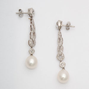Pearl and Diamond Drop Earrings - side view