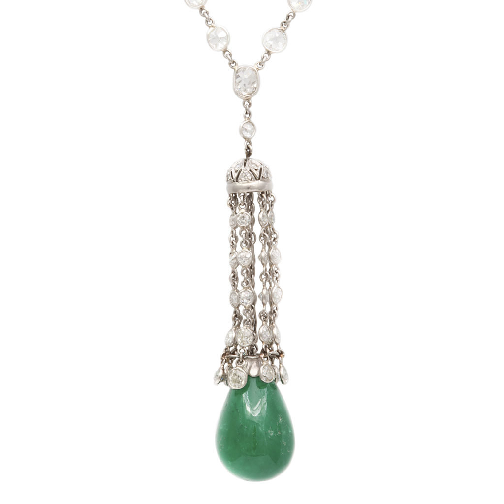 main view, 1920s Emerald and Diamond Pendant