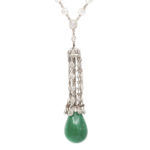 main view, 1920s Emerald and Diamond Pendant