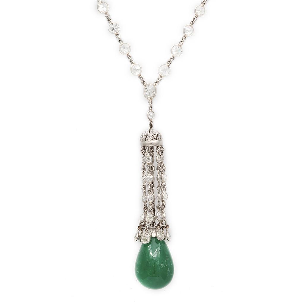 J. E. Caldwell Art Deco Drop Emerald Pendant