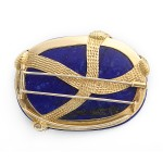 back view, Lapis Lazuli Brooch with Yellow Diamond Snake