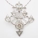 Paul Templier Diamond and Natural Pearl Pin/Pendant, back
