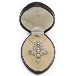 Paul Templier Diamond and Natural Pearl Pin/Pendant, in box